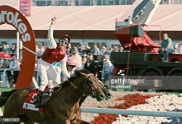 Italian jockey Lanfranco 'Frankie' Dettori wins the St Leger Stakes in Doncaster UK circa 1996