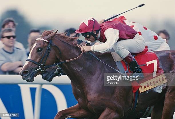 Italian jockey Lanfranco 'Frankie' Dettori wins the Thresher Classic Trial on Santillana Sandown Park UK April 1996