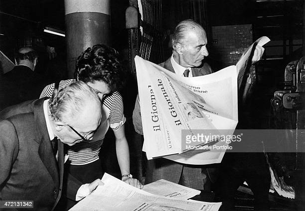 Italian journalist and editor in chief of Il Giornale Nuovo Indro Montanelli reading the first issue of the newspaper Milan 25th June 1974