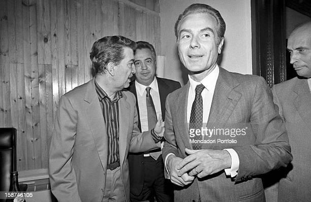 Italian journalist and editor of Il Tempo Gianni Letta Italian senator Franco Evangelisti and Italian entrepreneur and publisher Giuseppe Ciarrapico...