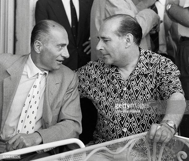 Italian journalist and historian Indro Montanelli with director and screenwriter Roberto Rossellini attend the presentation of his movie Il generale...