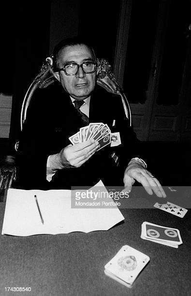 Italian journalist and member of the Parliament Giulio Andreotti playing cards Rimini 10th October 1982