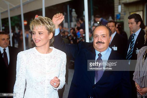 Italian journalist and TV host Maurizio Costanzo rejoicing beside his future wife and Italian Tv presenter Maria De Filippi at the 11th International...