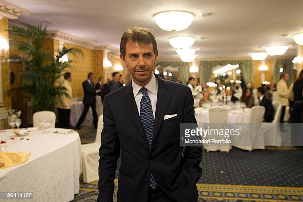 Italian journalist and TV presenter Francesco Giorgino keeping his hand in his pocket during the reception at the hotel Parco dei Principi Italian...