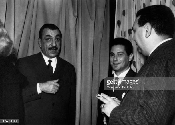Italian journalist and writer Aldo De Jaco talking to Italian publisher Alberto Mondadori after he got the SettembriniMestre Prize Mestre 1959