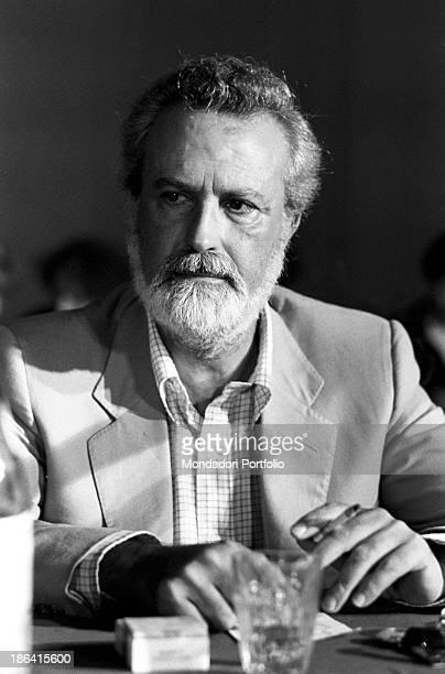 Italian journalist and writer Eugenio Scalfari, founder of the newspaper La Repubblica Festa de l'Unità. Bologna, September 1980.