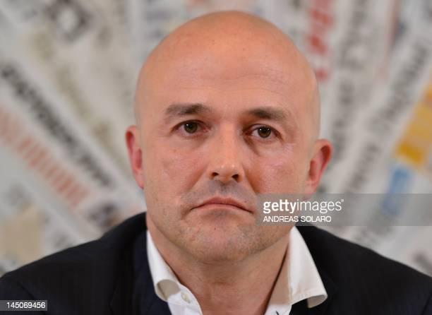 Italian journalist and writer Gianluigi Nuzzi looks on during the presentation of his new book Sua Santita le carte segrete di Benedetto XVI at the...