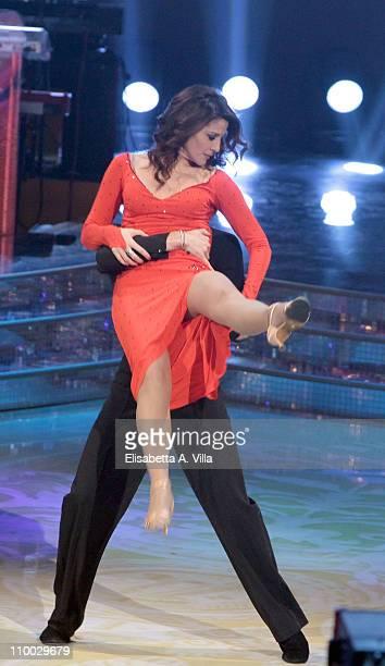 Italian journalist Barbara Capponi and her dance partner Samuel Peron perform on the Italian TV show 'Ballando Con Le Stelle' at RAI Auditorium on...