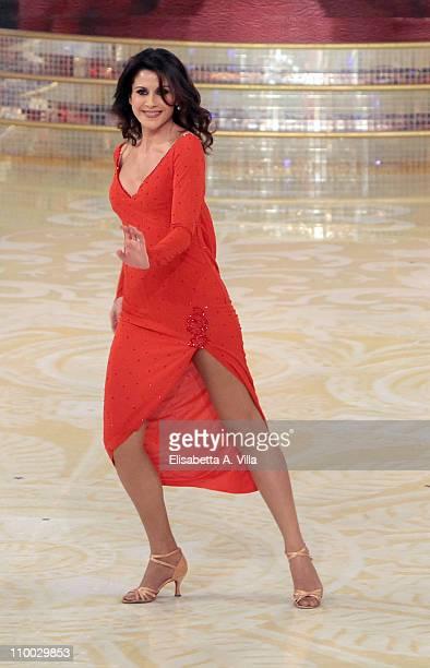Italian journalist Barbara Capponi performs on the Italian TV show 'Ballando Con Le Stelle' at RAI Auditorium on March 12 2011 in Rome Italy