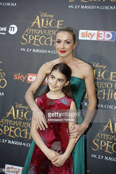 Italian journalist blogger and TV presenter Francesca Senette with her daughter Alice posing on the red carpet at the national premiere of the film...