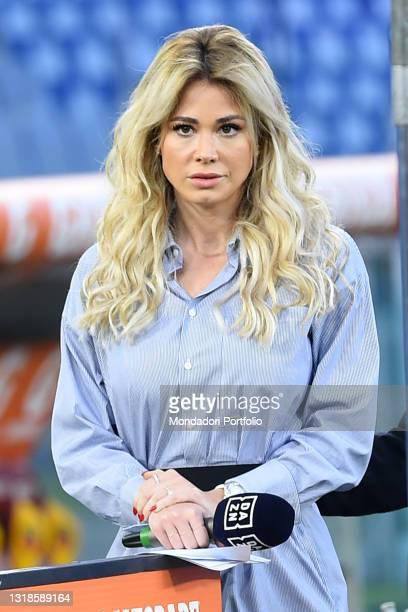 Italian journalist Diletta Leotta during the match Roma-Lazio at Olimpic Stadium. Rome , May 15th, 2021