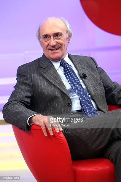 Italian journalist Giovanni Valentini attends 'L'Aria Che Tira' TV show on February 4 2013 in Rome Italy Silvio Berlusconi has announced yesterday...