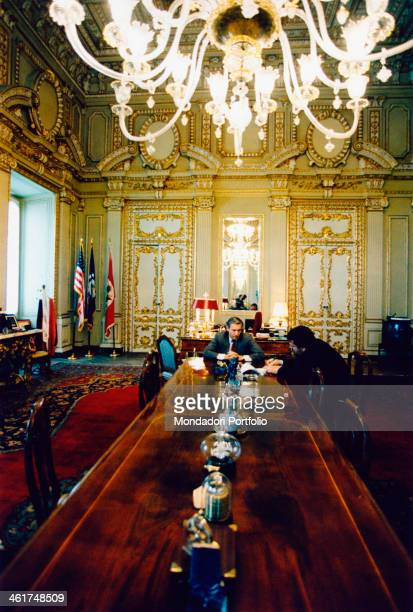 Italian journalist Giuliano Ferrara takes some notes during an interview to Reginald Bartholomew US Ambassador to Italy since 1993 the diplomat is...