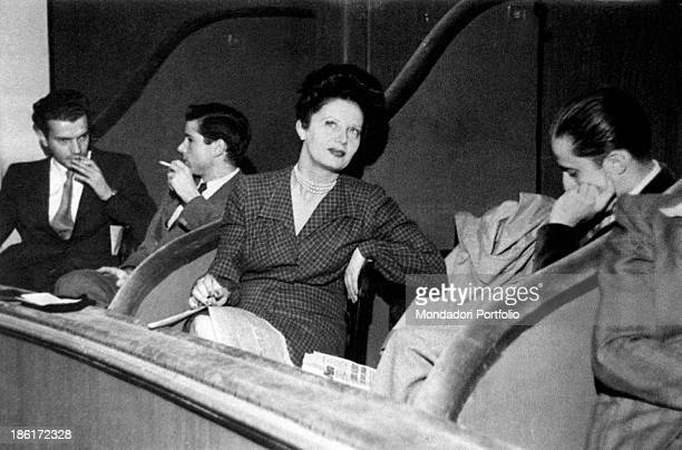 Italian journalist Irene Brin Maria Vittoria Rossi's pseudonym is seated in an elegant pose at the theatre she is famous because of her society news...