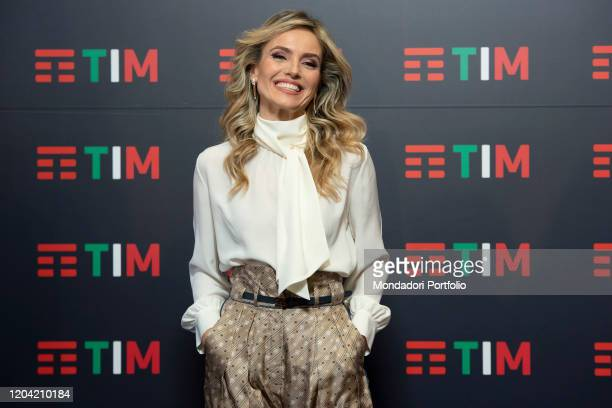 Italian Journalist Laura Chimenti in the Press Room of the 70 Sanremo Music Festival Sanremo February 5th 2020