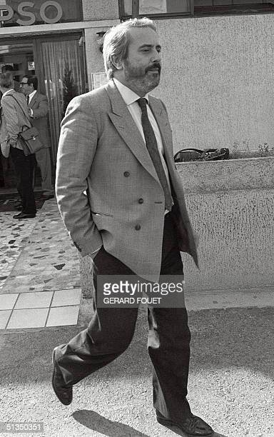 Italian Judge Giovanni Falcone arrives 21 October 1986 in Marseille to meet his French counterparts in charge to investigate the Mafia Pizza...