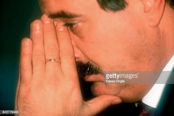 Italian judge Giovanni Falcone attends the launch of the book 'Dieci Anni di Mafia' by Saverio Lodato in October 1991 in Rome Italy Falcone was an...