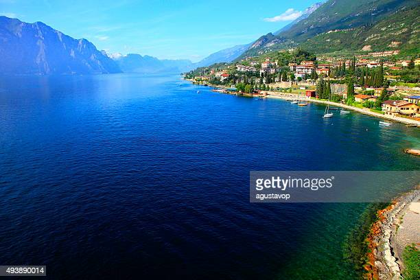italian lake garda paradise panorama sunset: alpine relax landscape, malcesine - veneto stock pictures, royalty-free photos & images