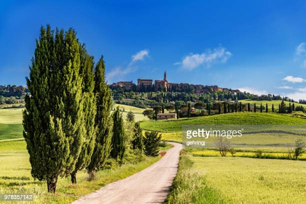 Italian landscape with the hilltop town of Pienza in Tuscany