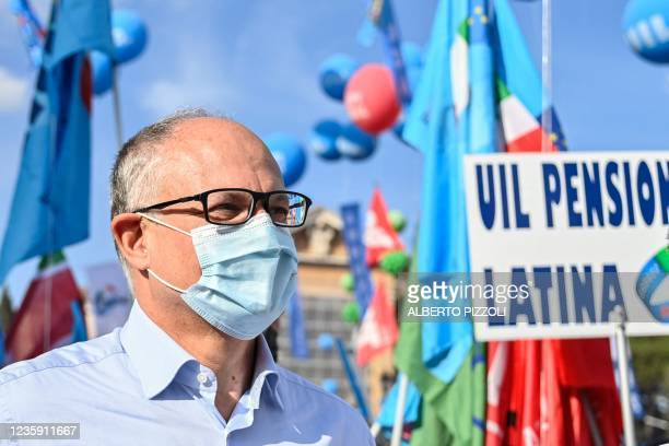 Italian lawmaker and run-off candidate in Rome'scurrent mayoral election, former Italian Economy minister Roberto Gualtieri attends an anti-fascist...