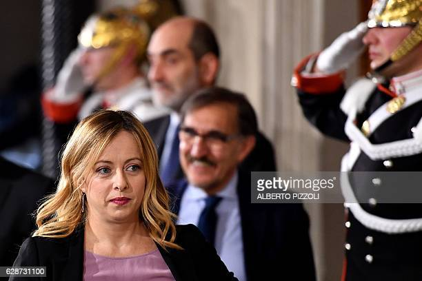 Italian lawmaker Giorgia Meloni President of the Brothers of ItalyNational Alliance nationalconservative party leaves following a meeting with...