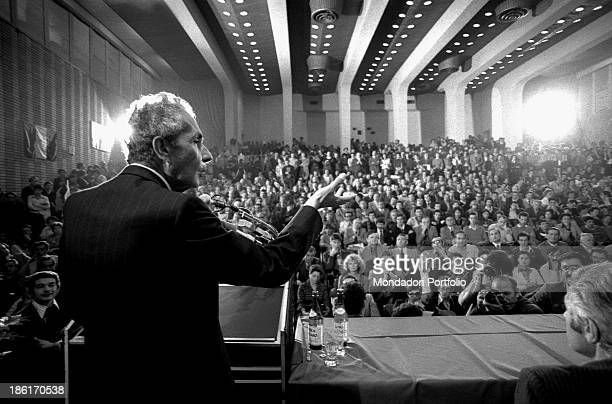 Italian leader of the Christian Democratic Party Aldo Moro taking part in the first National Friendship Day Palmanova September 1977
