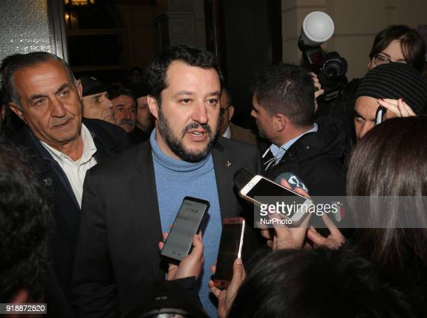 Italian leader of the Lega Nord political party and member of the European Parliament Matteo Salvini talks during an election rally in Messina Italy...