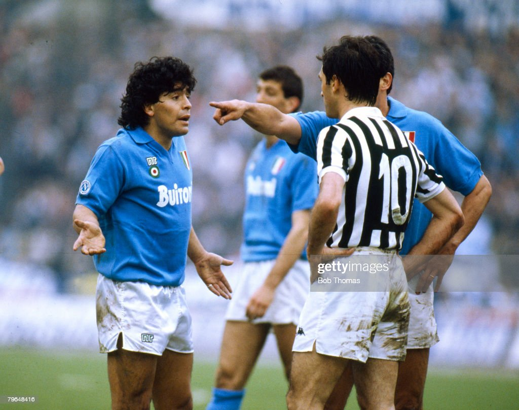 BT Italian League Serie A, pic: 17th April 1988, Juventus 3 v Naples 1, Napoli's Diego Maradona, left, in a dispute with Luigi De Agostini of Juventus, Diego Maradona won 91 Argentina international caps between 1977-1994 : News Photo