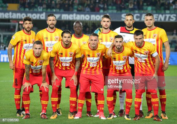 Italian League Serie A TIM 20172018 / 'n 'nBenevento Calcio Team Group from the left up 'nDanilo Cataldi Pietro Iemmello Yussif Raman Chibsah Luca...
