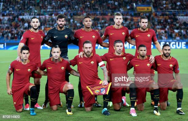 Italian League Serie A TIM 20172018 / 'r Team Group From left up 'rManolasAllisonJuan JesusDzekoStrootman // PerottiNainggolanDe RossiKolarovBruno...