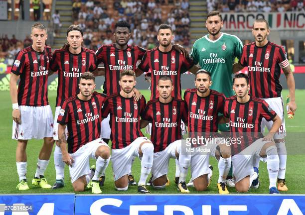 Italian League Serie A TIM 20172018 / 'r Team Group From Left up 'rAndrea Conti Riccardo Montolivo Franck Kessie Mateo Musacchio Gianluigi Donnarumma...