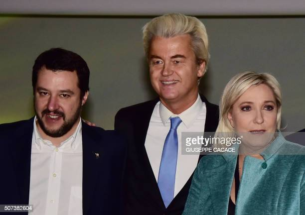 Italian Lega Nord Secretary Matteo Salvini Dutch farright Freedom Party leader Geert Wilders and French farright Front National party president...