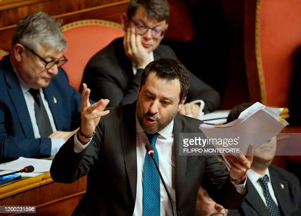 Italian Lega party farright leader Matteo Salvini gestures as he addresses the Senate on February 12 2020 in Rome as Italian senators are to decide...