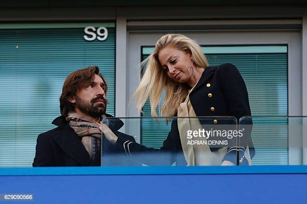 CORRECTION Italian legend Andrea Pirlo awaits kickoff in the English Premier League football match between Chelsea and West Bromwich Albion at...