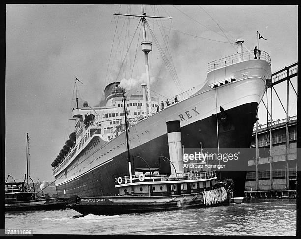 Italian liner 'Rex' docking on the Hudson River, New York, New York, ca. 1950.