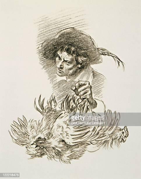 Italian literature, 19th century. Alessandro Manzoni , I promessi sposi . Renzo and Dr. Azzeccagarbugli. Drawing.