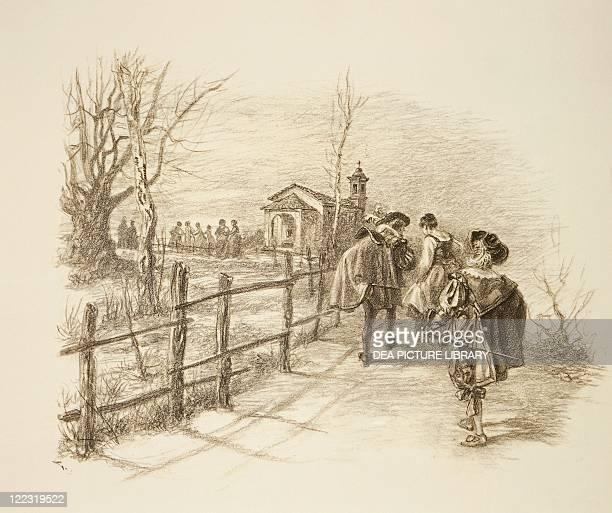 Italian literature, 19th century. Alessandro Manzoni , I promessi sposi . Lucia's meeting with the bravi. Drawing.