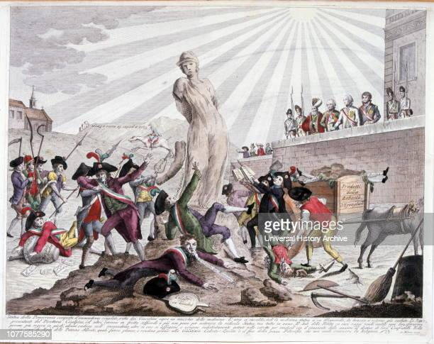 Italian lithograph Illustration depicting the statue of democracy and the French Revolution 1795