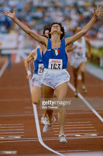 Italian long-distance runner Alessandro Lambruschini wins the Men's 3000 metres steeplechase at the European Cup competition in Gateshead, Tyne and...