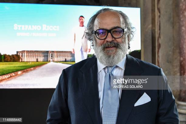Italian luxury designer Stefano Ricci poses during a preview of his Spring/Summer 2020 collection at 'Reggia di Caserta' a UNESCO world heritage site...