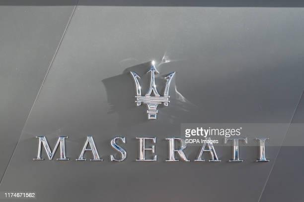Italian luxury vehicle manufacturer, Maserati logo seen in Shanghai Pudong International Airport.