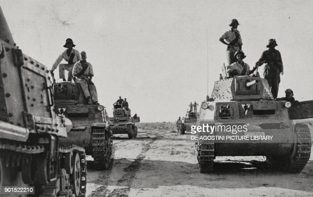 Italian M15 / 42 tanks proceeding towards Tobruk Egypt World War II from L'Illustrazione Italiana Year LXIX No 28 July 12 1942