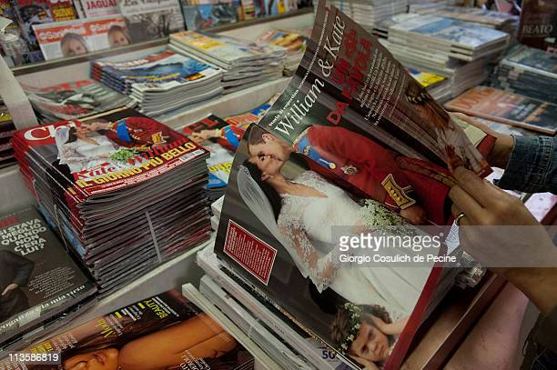 Italian magazine showing photographs of Prince William Duke of Cambridge and Catherine Duchess of Cambridge following their wedding are displayed on...