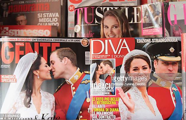 Italian magazines report the marriage of their Royal Highnesses Prince William, Duke of Cambridge and Catherine, Duchess of Cambridge following their...