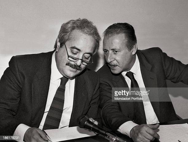 Italian magistrate Paolo Borsellino talking to Italian magistrate Giovanni Falcone Italy 1980s