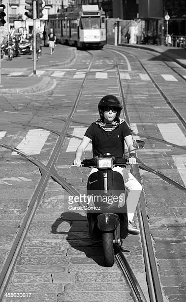 italian man on vespa motorcylce - vespa brand name stock pictures, royalty-free photos & images