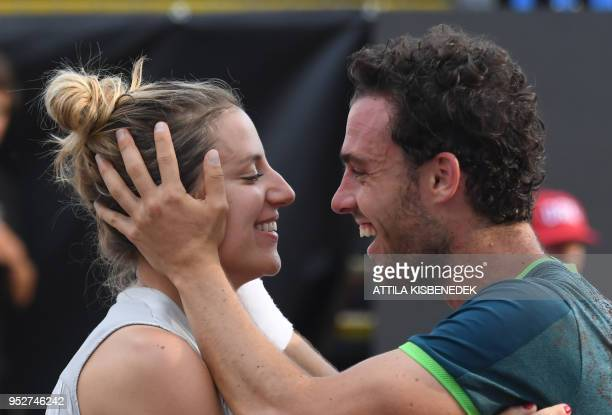 Italian Marco Cecchinato is congratulated by his girlfriend after his victory over Australian John Millman at the end of their ATP final tennis match...