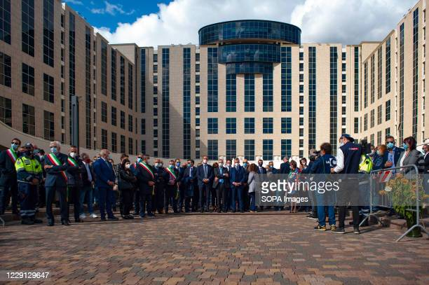 Italian mayors and local authorities seen during the funeral. At the Regional Citadel in Catanzaro was the last tribute for Jole Santelli, Governor...