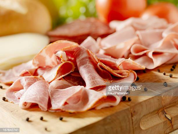 italian meats with cheese and vegetables - baloney stock photos and pictures