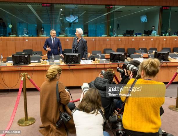 Italian member of the European Central Bank's executive board Fabio Panetta and the President of the European Central Bank Christine Lagarde are...
